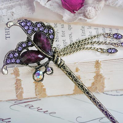 Amethyst Butterfly Hair Stick