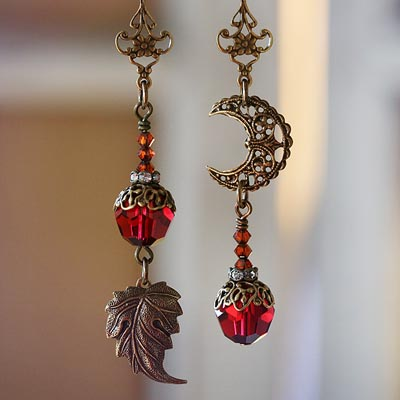 An Autumn Moon Asymmetrical Earrings