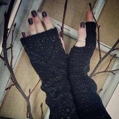 Black Shimmer Arm Warmers