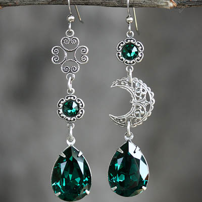 Celtic Moon Silver Asymmetrical Earrings