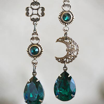 Celtic Moon Brass Asymmetrical Earrings