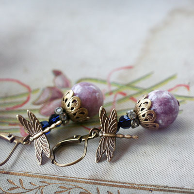 Lepidolite Dragonfly Earrings