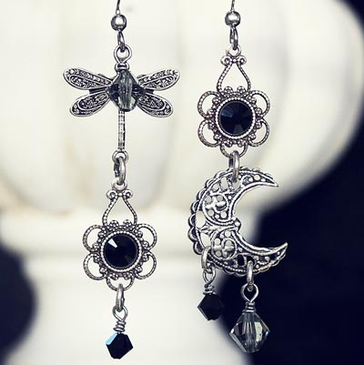 Midnight Flight Asymmetrical Earrings