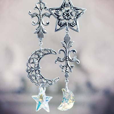 Moon and Stars Asymmetrical Earrings