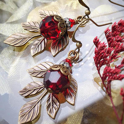 Crimson Leaves Earrings