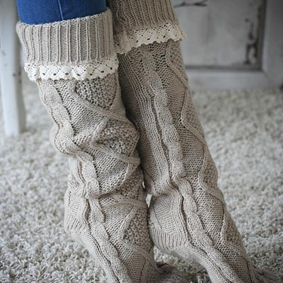Oatmeal Knit Lace Socks