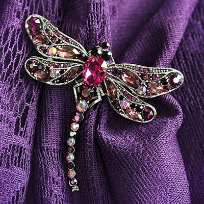 Plum Dragonfly Brooch