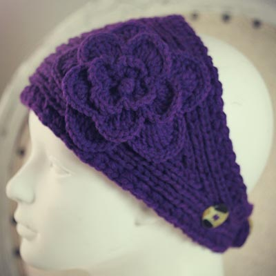 Knit Head/Neck Warmer in Purple
