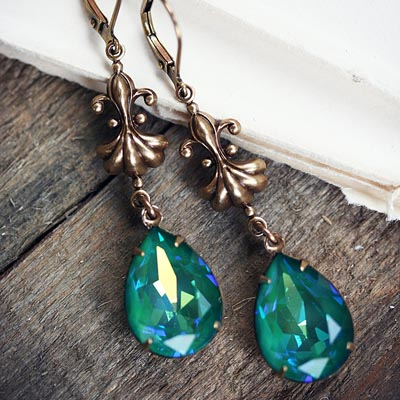 Sea Jewel in Brass Earrings
