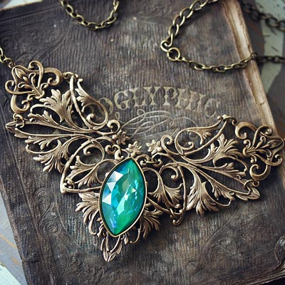 Sea Jewel Necklace in Brass