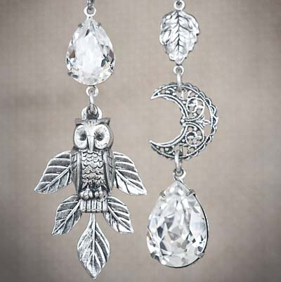 Snowy Owl Asymmetrical Earrings