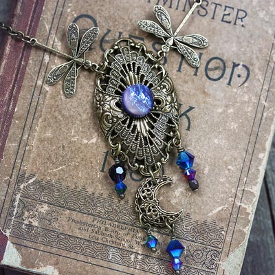 Under A Dragonfly Moon Necklace
