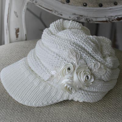 Winter Roses Knit Hat