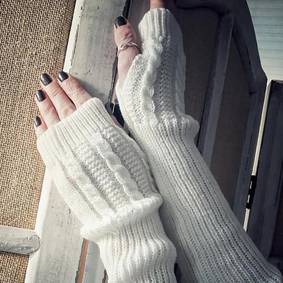 Winter White Arm Warmers